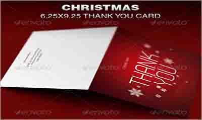 Christmas Thank You Card Template Sample