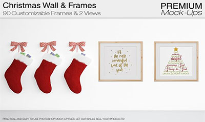 Christmas Wall and Frames Mockup Set