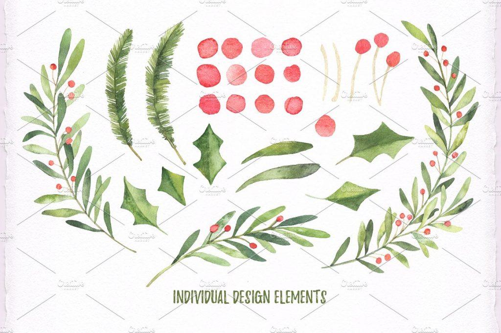 Christmas watercolor set Bundle