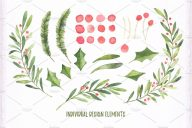 Christmas watercolor set Bundle