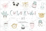 Cute Kids Set Design Postcard
