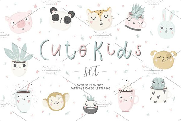 Cute Kids Set Design Postcard