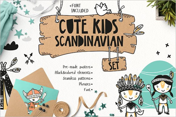Cute Kids Set Postcard Design
