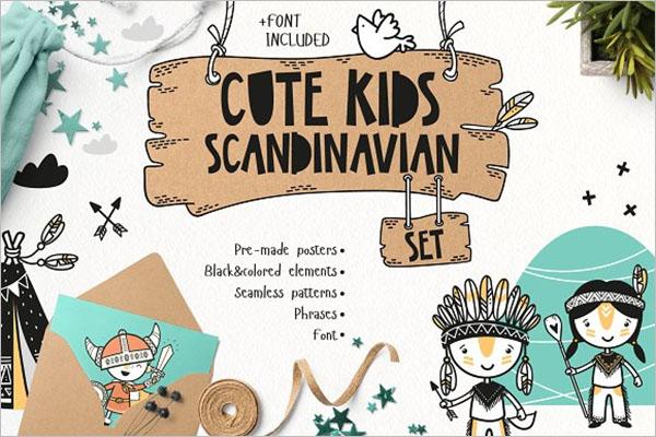 Cute Kids Set Postcard Design