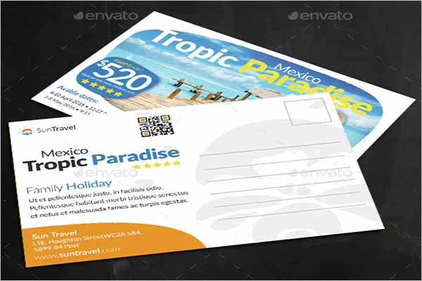 Family Holiday Postcard Template