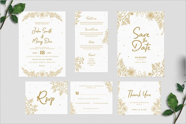 Flora Gold Invitation Card