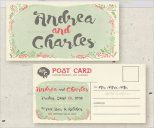 Floral Postcard Best Wedding Invitation