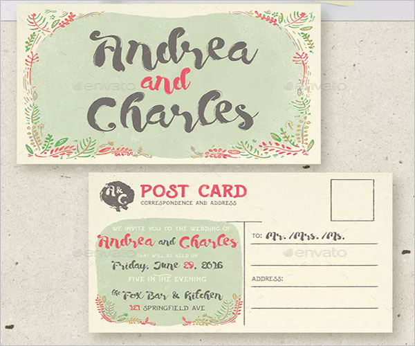 Floral Postcard Best Wedding Invitation