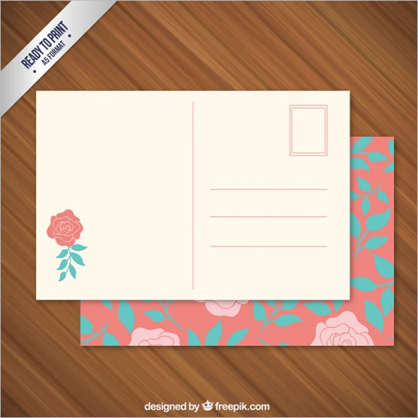Floral Postcard Free Vector
