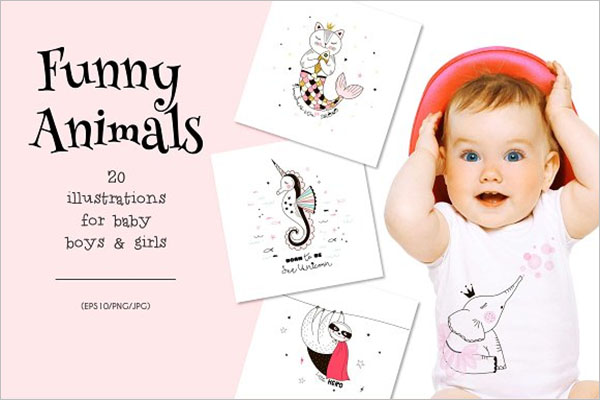 Funny Kids Animal Postcard Design