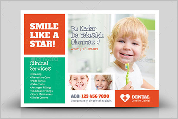 Kids Dental Postcard Design