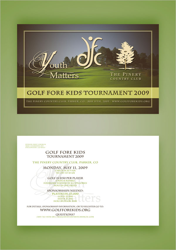 Kids Golf Fore Postcard Design