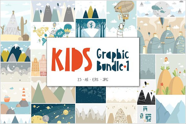 Kids Graphic Postcard Design