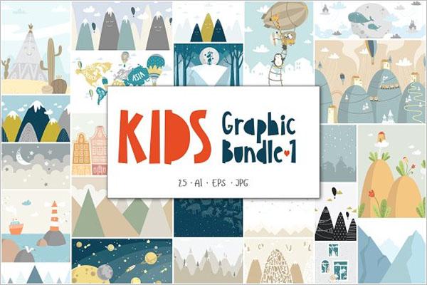 Kids Graphic Postcard Design