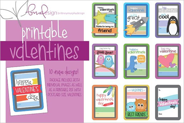 Kids Printable Valentines Postcard Design