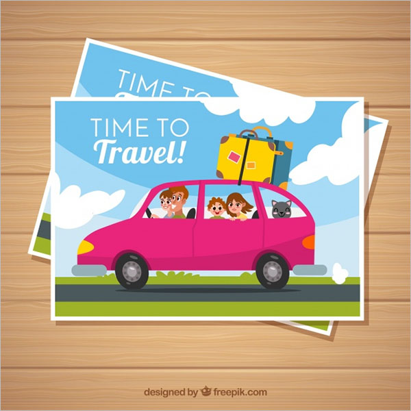 Kids Travel Postcard Template