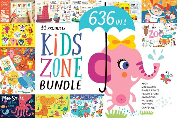 Kids Zone Postcard Design Template