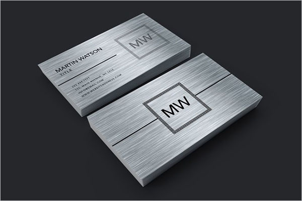 Metal Business Card PSD Template