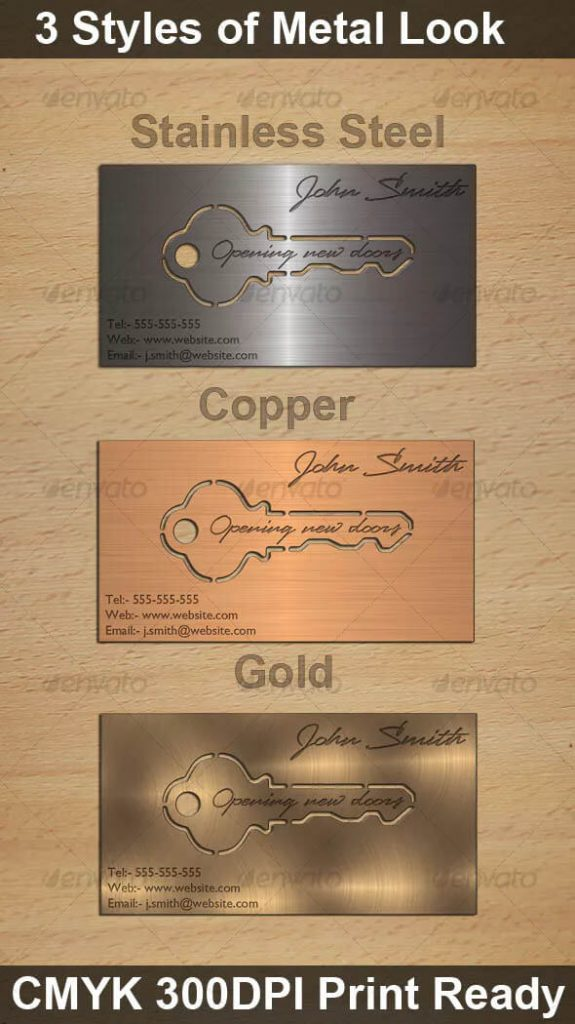 Metal Key Business Card Designs