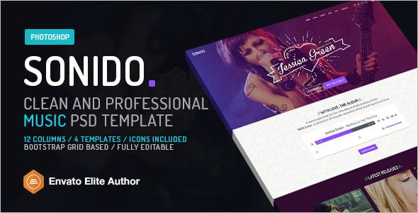 Music PSD Website Template