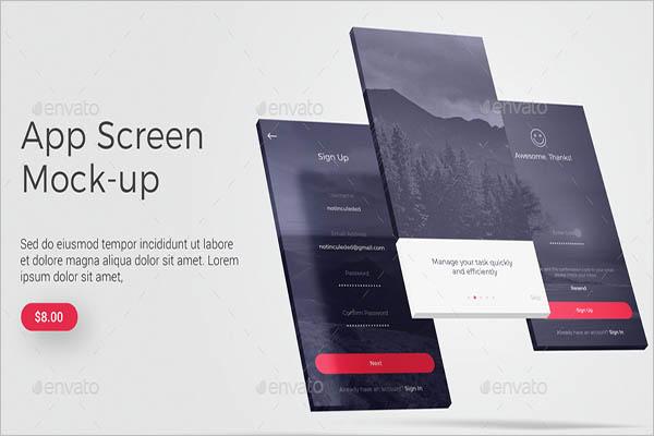 Retro App Screen MockUp Design