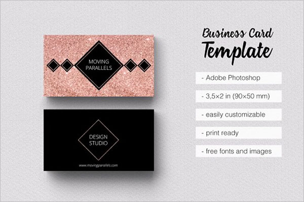 Rose Gold Graphic Business Card Design
