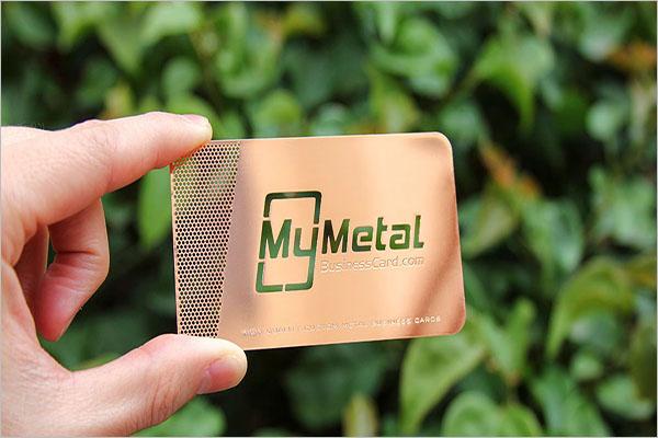 Rose Gold Metal Business Card