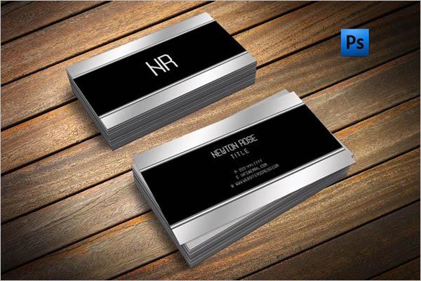 Silver Metal Business Cards Design