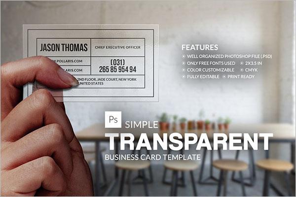 Simple Transparent Business Card