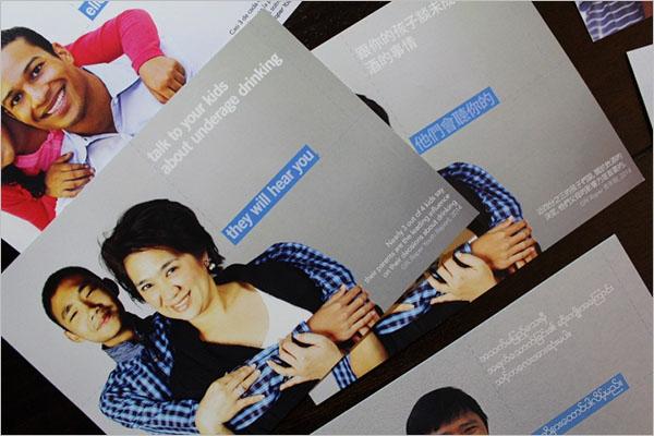 Underage Drinking Postcard Marketing Design