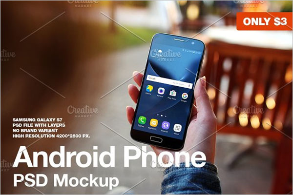 Unique Android Phone PSD Mockup