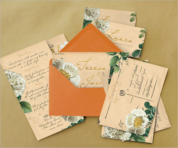 Vintage Floral Postcard Wedding Package
