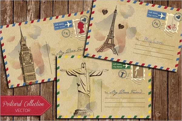 Vintage Postcard Design PSD