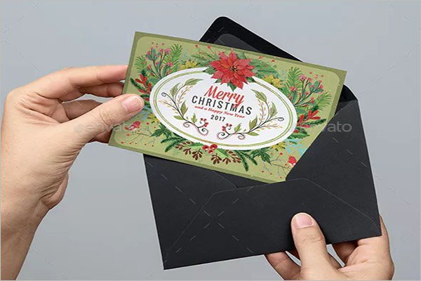 Watercolor Floral Christmas Postcard