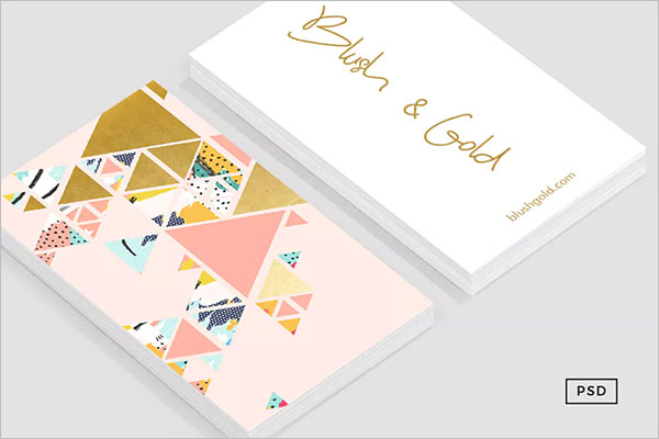 White And Rose Gold Business Card