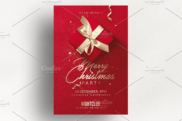 Red Christmas Invitation Flyer Templates