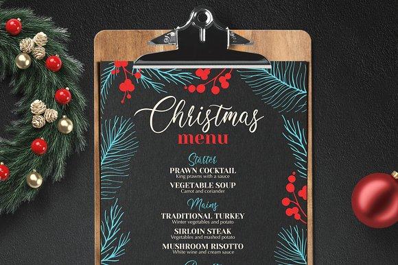 Christmas Party Menu Design Templates