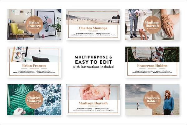 editable Rose Gold  Business Card  design