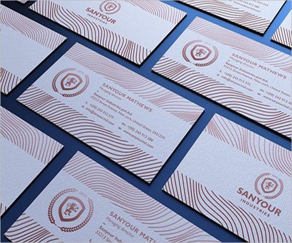 landscape Rose Gold Business Card