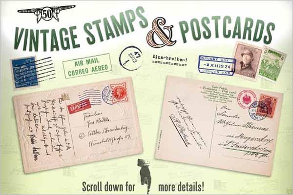 vintage invitation postcard Design