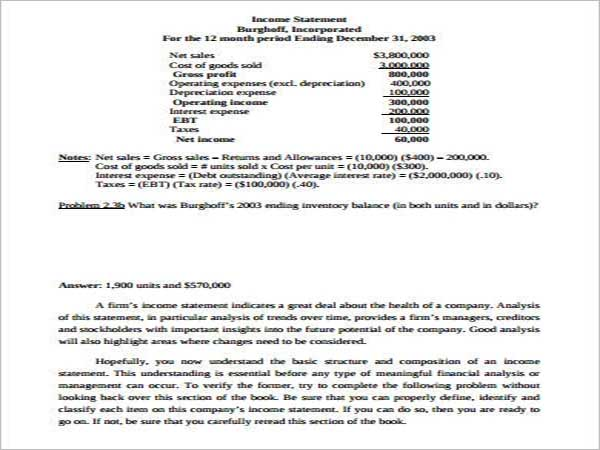 Accounting Income Statement Template