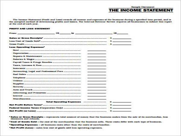 Basic Income Statement for Small Business