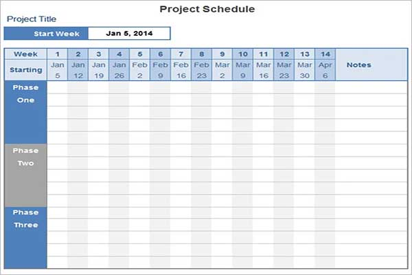 Best Project Schedule Template