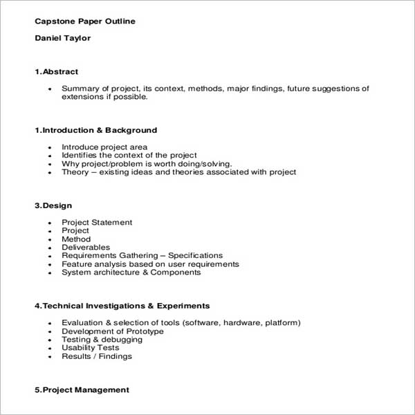 Business Project Outline Template