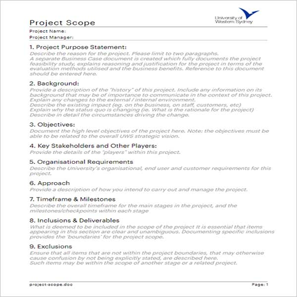 Creative Project Scope Template