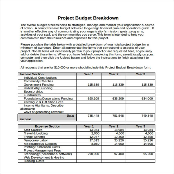 Editable Project Budget Template
