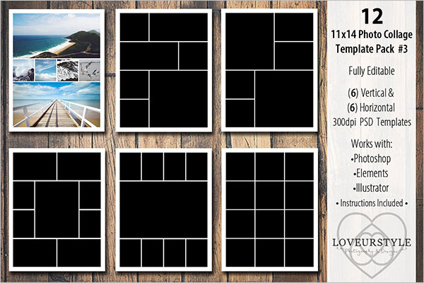 Fully Editable Photo Collage Flyer Template