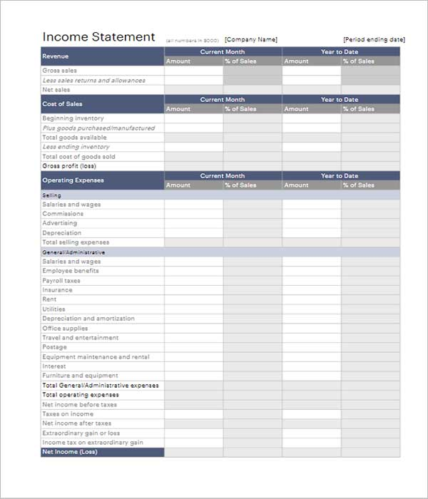 Income Statement Template Free Download