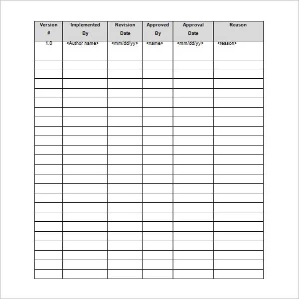 Printable Project Schedule Template