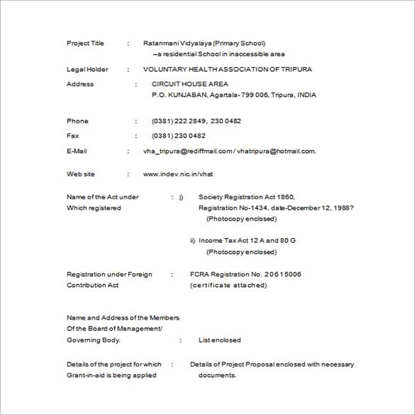 Project Proposal Format Template